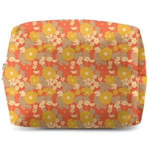 60s Orange Floral Wash Bag