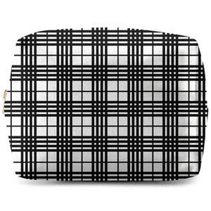 Black And White Tartan Wash Bag