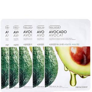 THE FACE SHOP Real Nature Sheet Mask - Avocado (Pack of 5)