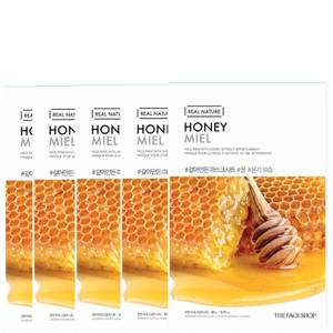 THE FACE SHOP Real Nature Sheet Mask - Honey (Pack of 5)