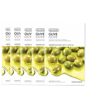 THE FACE SHOP Real Nature Sheet Mask - Olive (Pack of 5)