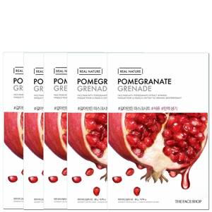 THE FACE SHOP Real Nature Sheet Mask - Pomegranate (Pack of 5)