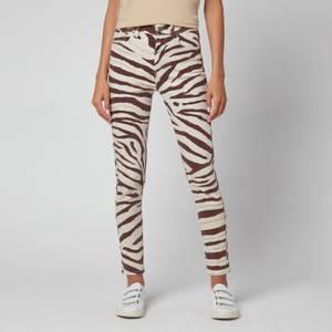 Polo Ralph Lauren Women's High Rise Skinny Jeans - Black/White Zebra