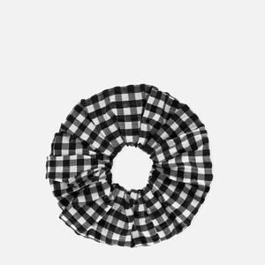 Ganni Women's Seersucker Check Scrunchie - Black