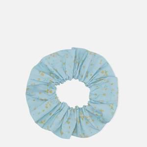 Ganni Women's Floral Print Cotton Scrunchie - Corydalis Blue