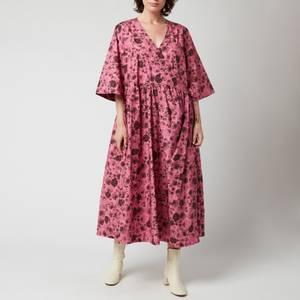 Ganni Women's Printed Cotton Poplin Dress - Shocking Pink