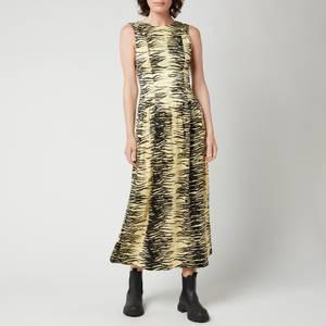 Ganni Women's Crinkled Satin Dress - Pale Banana