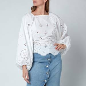 Ganni Women's Broderie Anglaise Blouse - Bright White