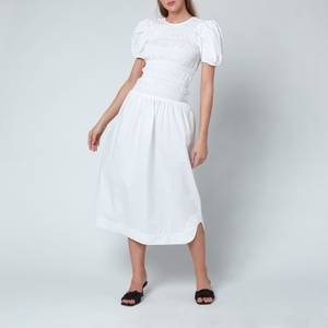 Ganni Women's Cotton Poplin Dress - Bright White