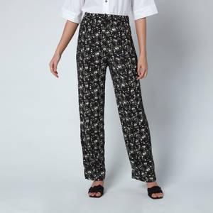 Ganni Women's Printed Crepe Trousers - Phantom