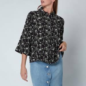 Ganni Women's Printed Crepe Shirt - Phantom