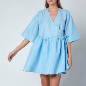 Ganni Women's Crispy Tafetta Dress - Airy Blue