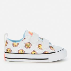Converse Toddlers' Chase The Sun Chuck Taylor All Star Velcro Ox Trainers - White/Citron Pulse/Chambray Blue