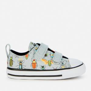 Converse Toddlers' Chuck Taylor All Star Velcro Bugged Out Ox Trainers - Ash Stone/Black/Bright Poppy