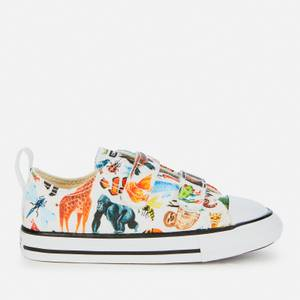 Converse Toddlers' Chuck Taylor All Star Velcro Animal Print Ox Trainers - White/Black/White