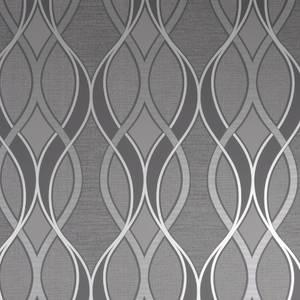 Ribbon Geo Charcoal Wallpaper