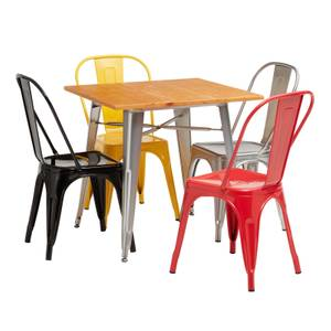 Billy Bistro Dining Set 4 Yellow Chairs