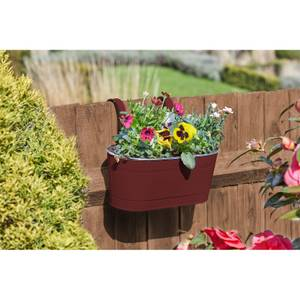 12 inch Fence and Balcony Hanging Planter - Crimson