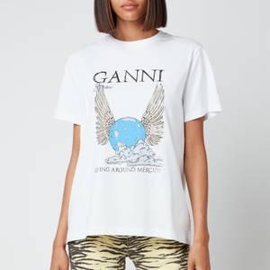 Ganni Women's Flying Around Mercury T-Shirt - Bright White