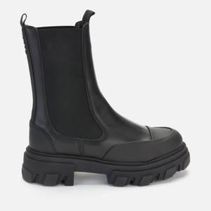 Ganni Women's Mid Leather Chelsea Boots - Black