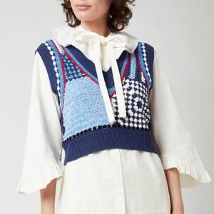 Baum Und Pferdgarten Women's Cicilla Knitted Top - Blue White Crochet