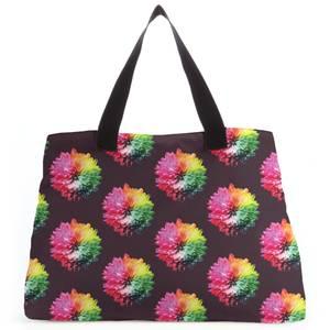 Fluro Flower Pattern Dark Tote Bag