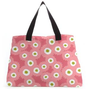 Retro Fuzzy Flowers Tote Bag