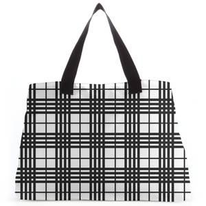 Black And White Tartan Tote Bag