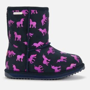 EMU Australia Kids' Rainbow Unicorn Brumby Waterproof Boots - Deep Pink & Midnight