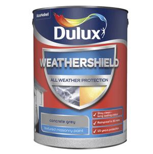 Dulux Weathershield Textured Masonry Paint - Concrete Grey - 5L