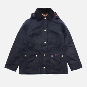 Barbour Girls' Hooded Beadnell Wax Jacket - Royal Navy/Fuchsia Secret Garden
