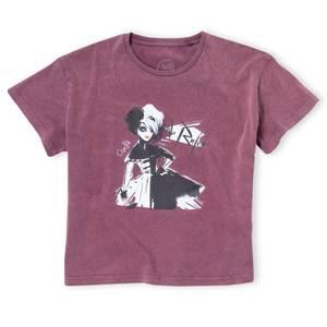 """T-Shirt Cropped Cruella """"No Rules"""" - Acid Wash Bordeaux"""