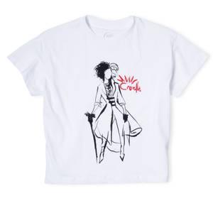 T-Shirt Cropped Silhouette Cruella - Blanc