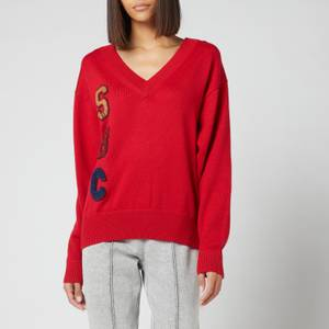 See by Chloé Women's Logo Wool Blend Knitted Jumper - Swinging Red