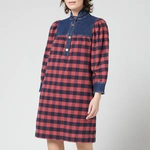 See By Chloé Women's Denim & Check Dress - Boyish Blue