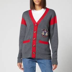 See by Chloé Women's Recycled Wool Blend Knitted Cardigan - Grey Red