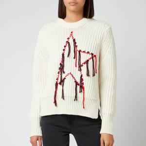 Golden Goose Women's Dottie Merino Wool Mending Embroidery Sweater - Beige