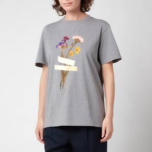 Golden Goose Women's T-Shirt Golden Regular S/S with Flowers - Grey