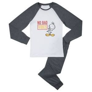 Looney Tunes No Bad Vibes Women's Pyjama Set - White/Grey