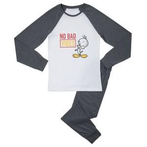 Looney Tunes No Bad Vibes Women's Pyjama Set - White/Grey