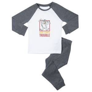 Looney Tunes Here Comes Trouble Kids' Pyjamas - White/Grey