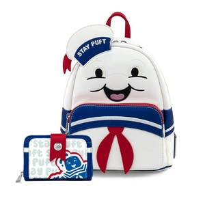 Loungefly Ghostbusters Stay Puft Marshmallow Man Mini Backpack and Wallet Set