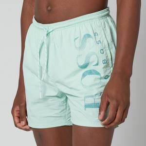 BOSS Bodywear Men's Technical Fabric Logo Swimshorts - Light Pastel Green