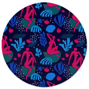 Silhouete And Leaves Round Bath Mat