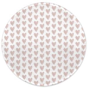 Pink Hearts Round Bath Mat