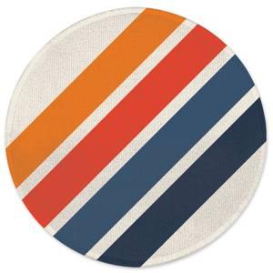 Blue Orange Retro Stripes Round Bath Mat
