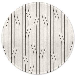 Thin Warped Lines Round Bath Mat