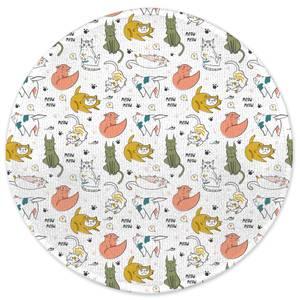 Colourful Cat Pattern Round Bath Mat