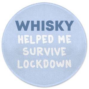 Whisky Helped Me Survive Lockdown Round Bath Mat