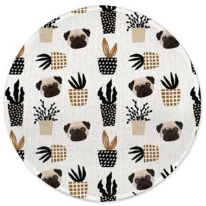 Pug & Cactus Round Bath Mat